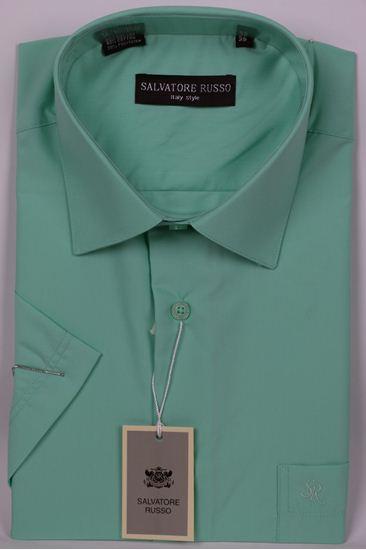 Изображение Классическая однотонная светло зеленая рубашка
