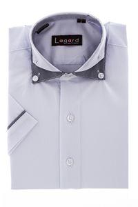 Изображение Рубашка однотонная белая с декоративным воротником