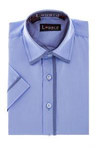 Изображение Рубашка однотонная голубая с окантовкой по краю воротника