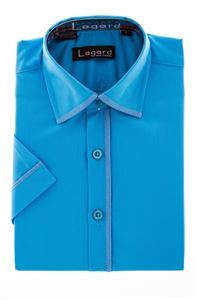 Изображение Рубашка однотонная бирюзовая с окантовкой по краю воротника