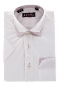 Изображение Детская однотонная рубашка с декоративным воротником