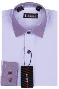 Изображение Детская однотонная белая рубашка с воротником в полоску