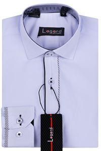 Изображение Детская однотонная белая рубашка с декоративной планкой