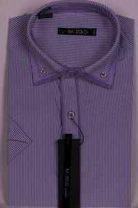 Изображение Молодежная рубашка в клетку с двойным воротником
