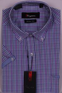 Изображение Молодежная рубашка в клетку с декоративной отделкой