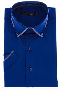 Изображение Молодежная однотонная синяя рубашка  с декоративным воротником