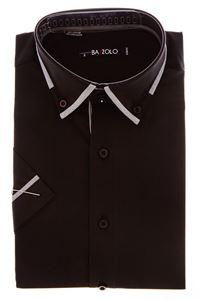 Изображение Молодежная однотонная коричневая рубашка  с декоративным воротником
