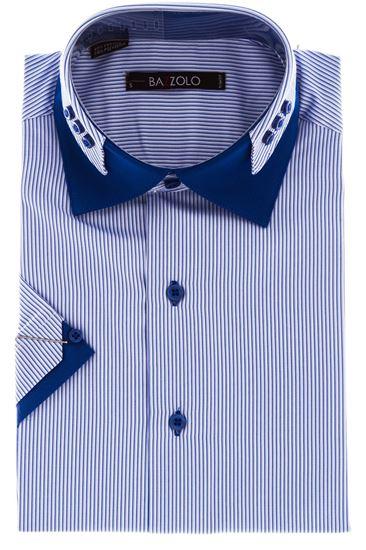 Изображение Молодежная рубашка в полоску с декоративным воротником