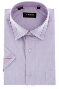 Изображение Классическая рубашка в полоску с декоративным воротником