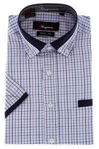 Изображение Молодежная рубашка в клетку с декоративным воротником