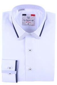 Изображение Детская однотонная белая рубашка с декоративным воротником