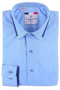 Изображение Детская однотонная голубая рубашка с декоративным воротником