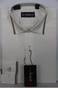 Изображение Детская однотонная рубашка с окантовкой по краю воротника