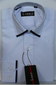 Изображение Детская однотонная белая рубашка с окантовкой по краю воротника