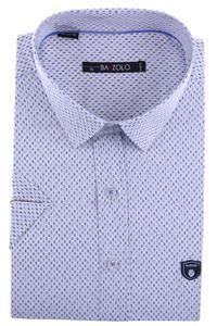 Изображение Молодежная белая рубашка в мелкий узор