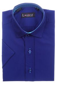 Изображение Детская однотонная синяя рубашка