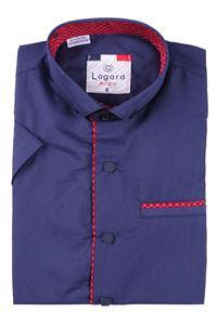 Изображение Детская однотонная темно синяя рубашка с окантовкой по краю планки