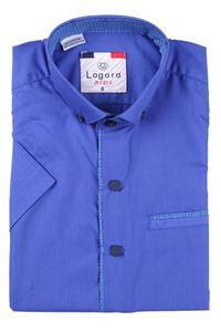Изображение Детская однотонная синяя рубашка с окантовкой по краю планки