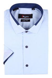Изображение Молодежная однотонная рубашка с декоративным воротником