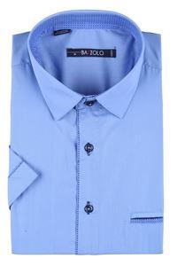 Изображение Молодежная однотонная рубашка с окантовкой по планке