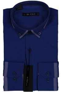 Изображение Молодежная однотонная рубашка с окантовкой по воротнику