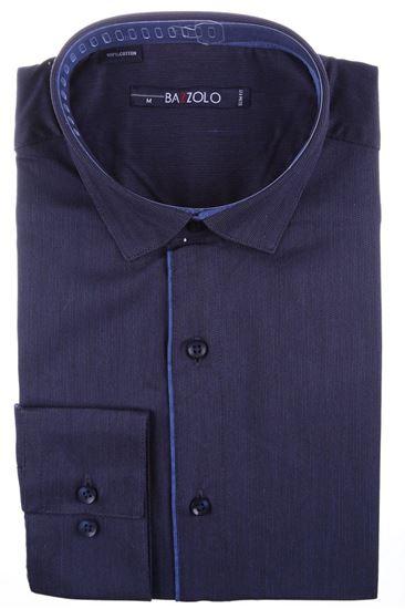 Изображение Молодежная однотонная темно-синяя рубашка, длинный рукав
