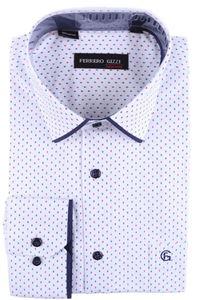 Изображение Классическая мужская рубашка в рисунок с окантовкой по воротнику, длинный рукав