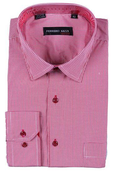 Изображение Классическая рубашка в клетку с окантовкой по воротнику, длинный рукав