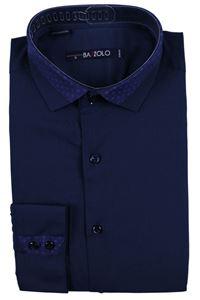 Изображение Молодежная рубашка темно-синего цвета, длинный рукав