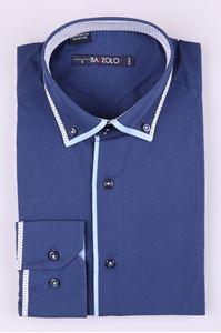 Изображение Молодежная рубашка с ОКАНТОВКОЙ ПО ВОРОТНИКУдлинным рукавом (Арт. T 2455)