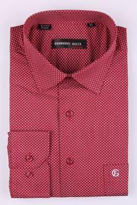 Изображение Красная мужская рубашка с мелким узором, длинный рукав (Арт.SDK 2325)