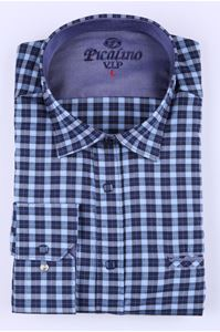 Изображение Классическая рубашка в темно-синюю клетку с длинным рукавом(Арт.2876)