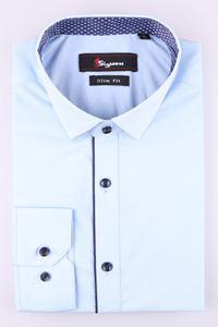 Изображение Стильная молодежная рубашка голубого  цвета, длинный рукав (Арт. T 7366)