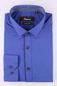 Изображение Стильная молодежная рубашка  синего цвета, длинный рукав (Арт. T 7368)