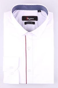 Изображение Стильная молодежная рубашка белого цвета, длинный рукав (Арт. T 7369)