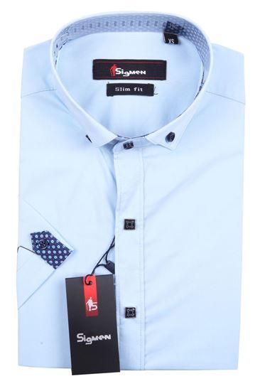 Изображение Молодежная однотонная рубашка, короткий рукав