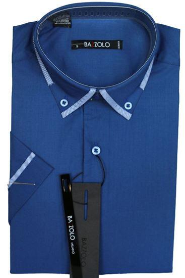 Изображение Молодежная однотонная рубашка с окантовкой по воротнику, короткий рукав