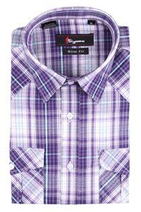 Изображение Молодежная мужская рубашка с коротким рукавом в клетку