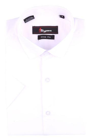 Изображение Молодежная мужская однотонная рубашка с коротким рукавом